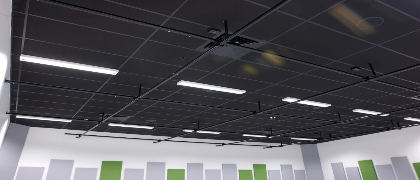 Black Vinyl Suspended Ceiling Tiles 1200x600